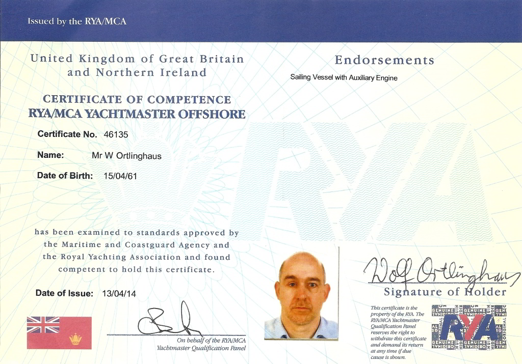 RYA Yachtmaster License Wolf Ortlinghaus