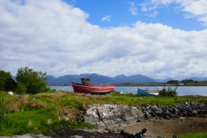 Schiffswracks aus Holz bei Roundstone